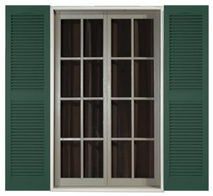 Standard Louver shutters available in 16 colors plus paintable.